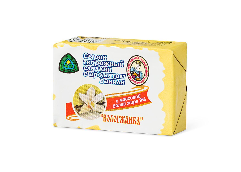 Сырок творожный Вологжанка сладкий с ароматом ванили 9%