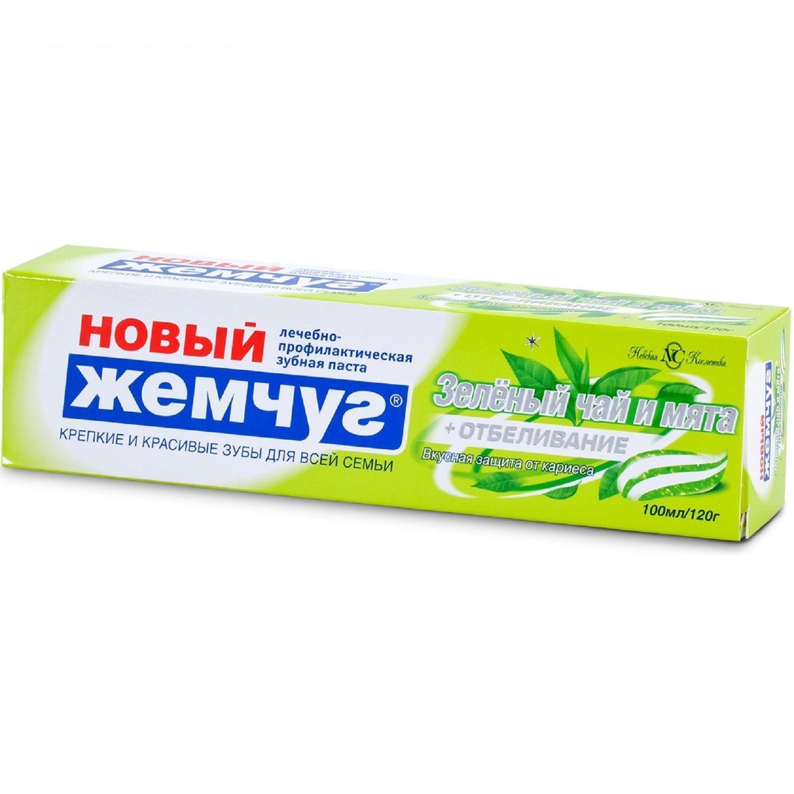 Зубная паста Новый жемчуг Зеленый чай и мята + отбеливание