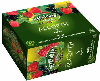 Чай черный Фруктовая Линия Ассорти 50 пакетов