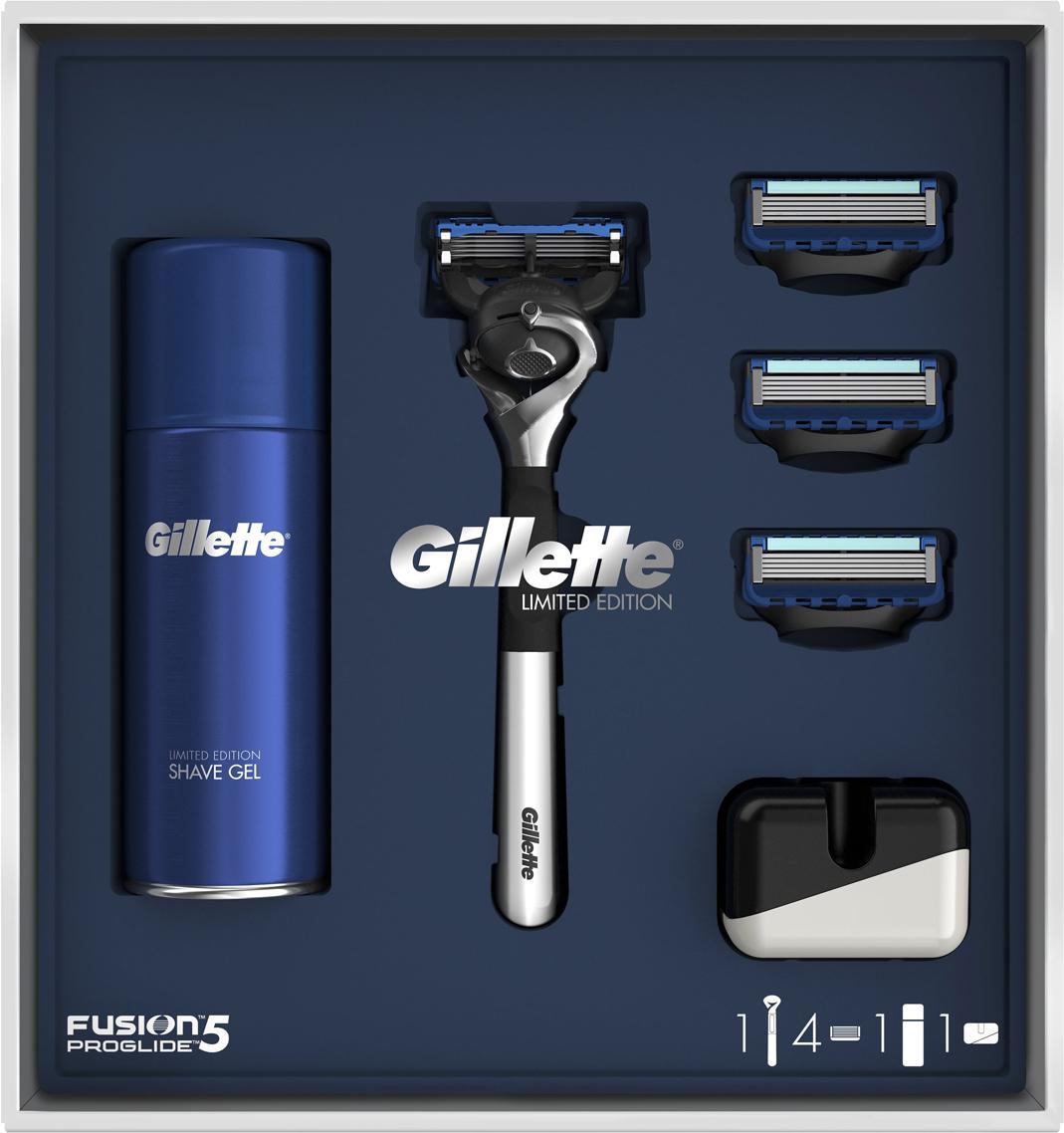 Подарочный набор Gillette Fusion5 ProGlide: Бритва + 4 кассеты+ Гель для бритья 75 мл. + Подставка