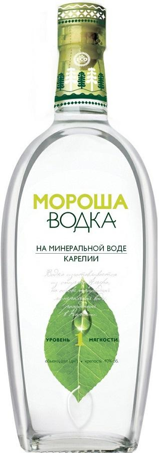 Водка Мороша на минеральной воде карелии уровень мягкости №1 40%