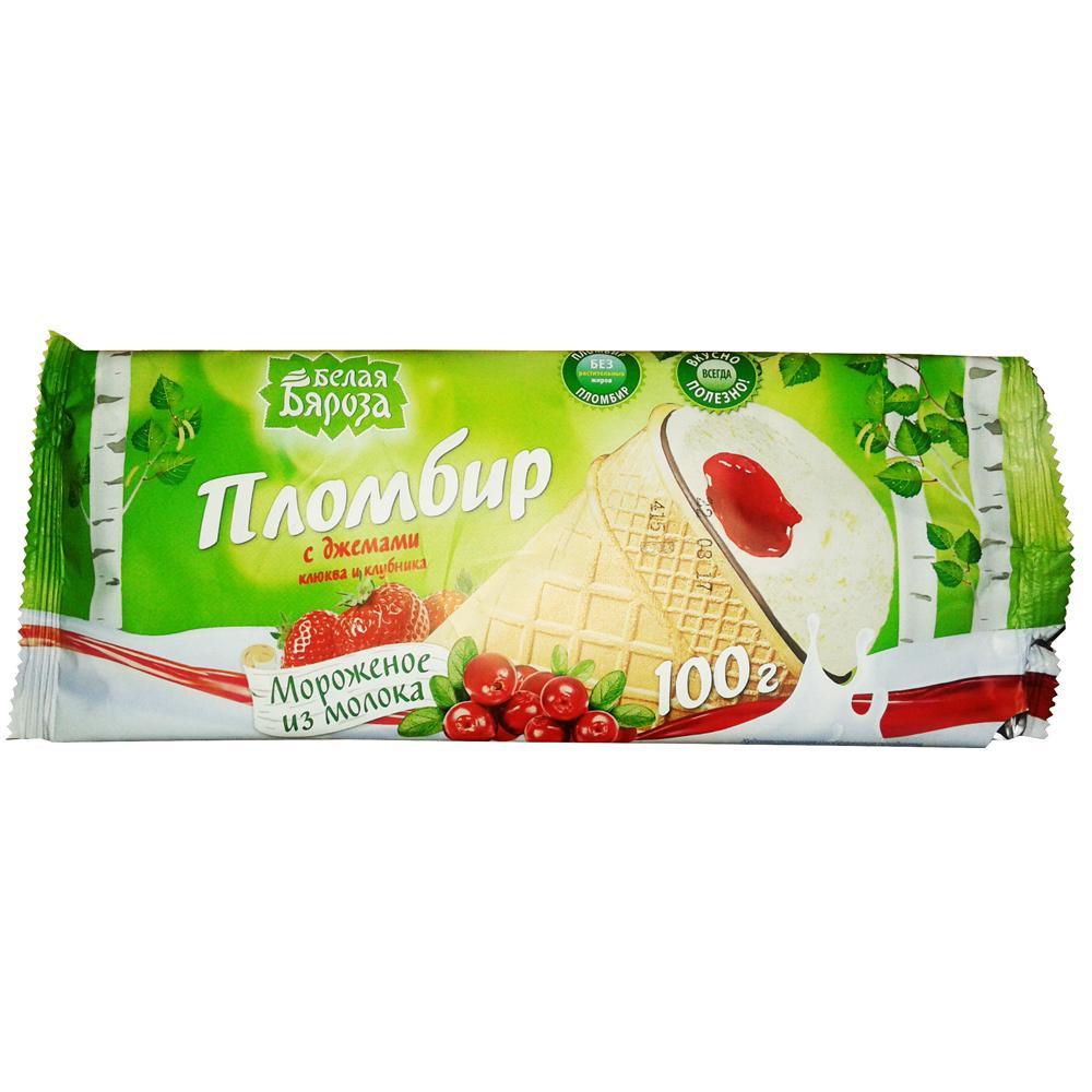 Мороженое Белая Бяроза Вафельный стаканчик плоский с Джемом клюквы с клубникой