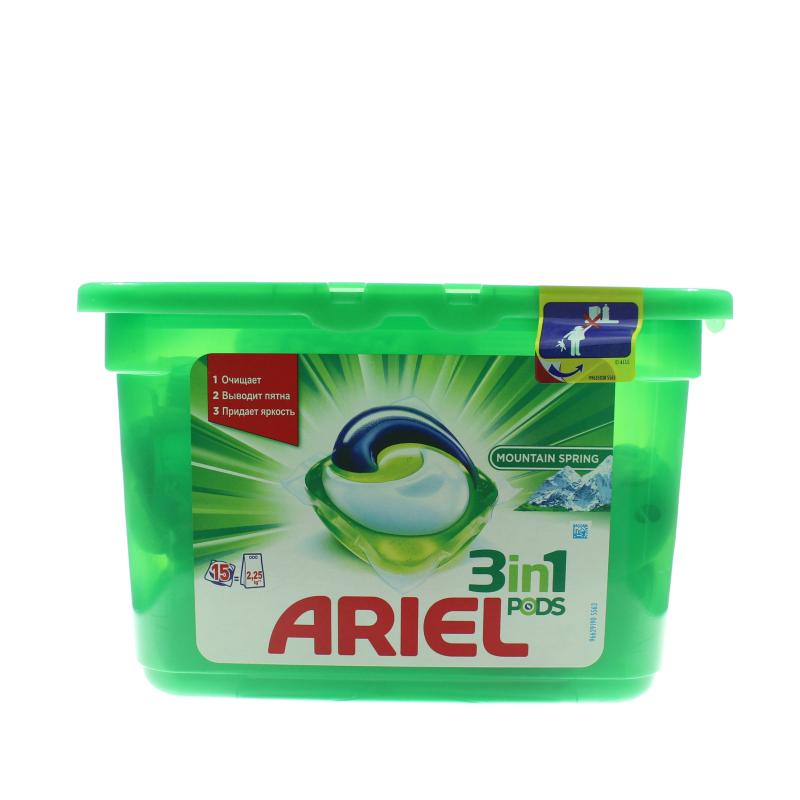 Капсулы для стирки Ariel Pods 3 в 1 Горный родник для всех видов тканей, 15шт