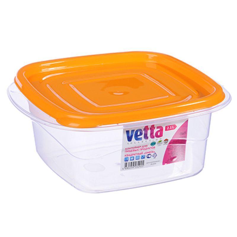Контейнер для СВЧ VETTA с крышкой, пластик, квадратный Омега