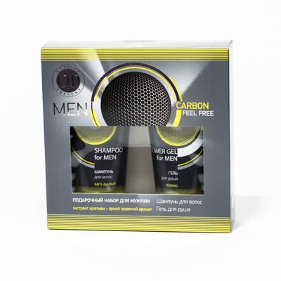 Подарочный набор Q.P.Carbon Feel Free для мужчин №1072 Шампунь для волос 200 мл + Гель для душа 200 мл