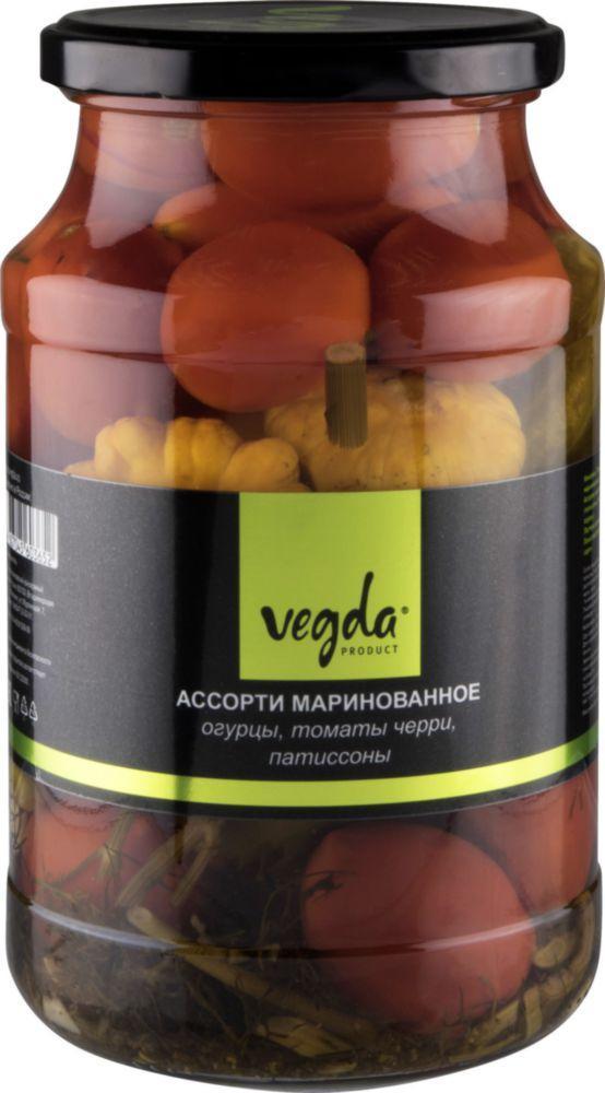 Ассорти Vegda product маринованное огурцы, томаты черри, патиссоны