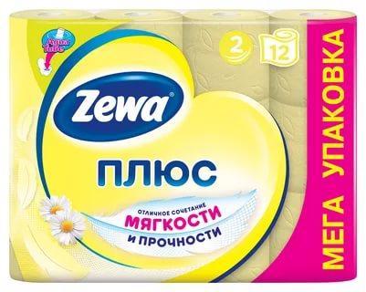 Туалетная бумага Zewa Плюс аромат ромашки 2-х слойная 12 рулонов