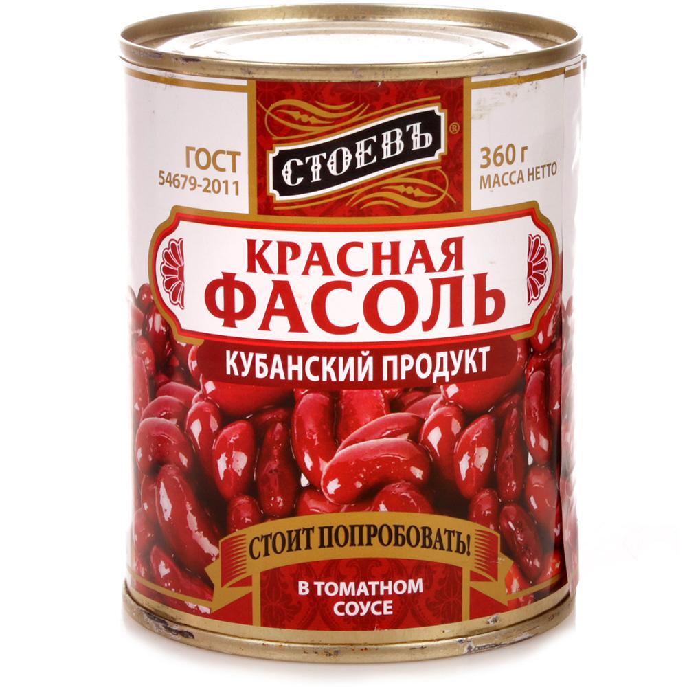 Овощные консервы Стоевь фасоль красная в томатном соусе