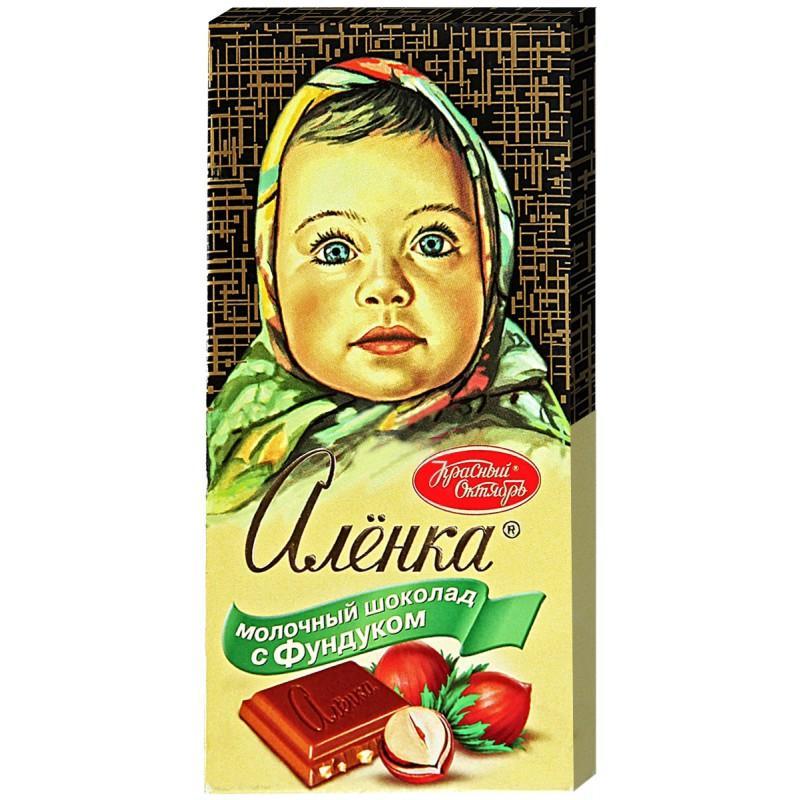 Шоколад Красный Октябрь Аленка молочный с фундуком 100 гр.