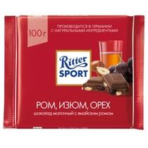 Шоколад Ritter Sport молочный с ромом, изюмом и орехами