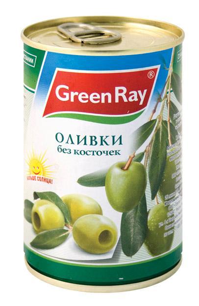 Оливки Грин Рей зеленые без косточки