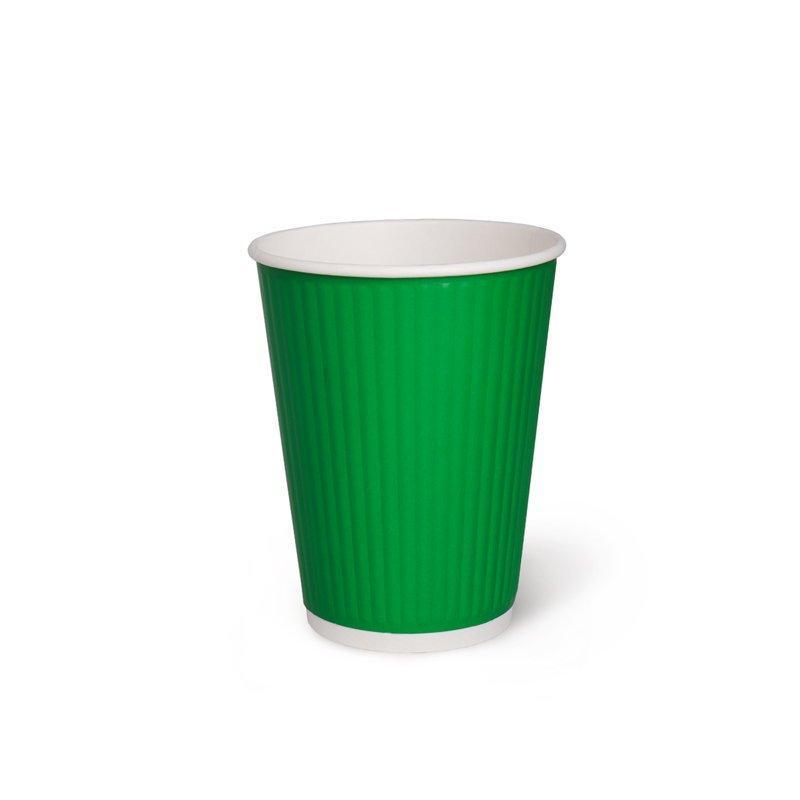 Бумажный рифленый стакан, 360 мл (макс. 420 мл), зеленый