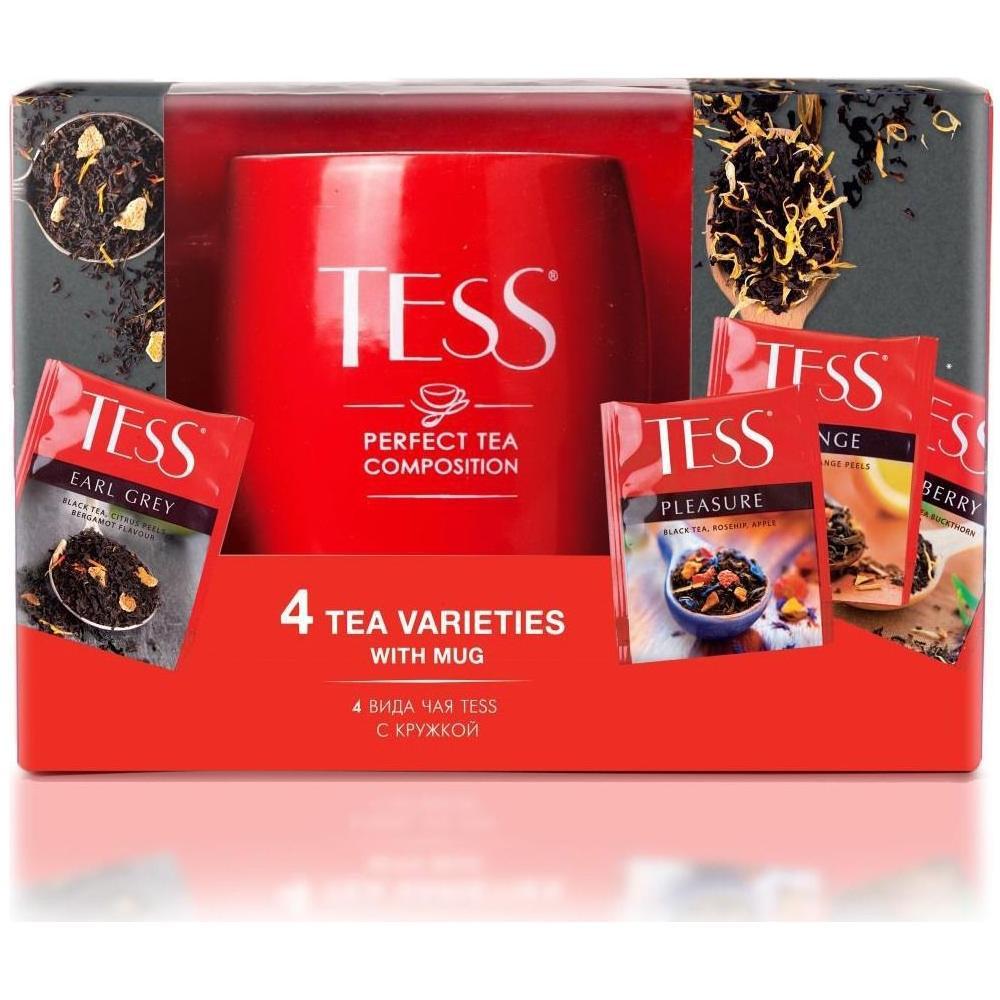 Чай Tess подарочный набор с кружкой, 4 вида по 25 пак.