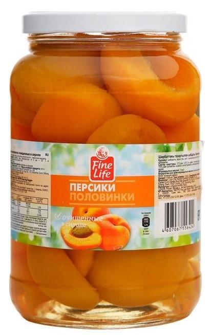 Персики Fine Life в сиропе половиинки