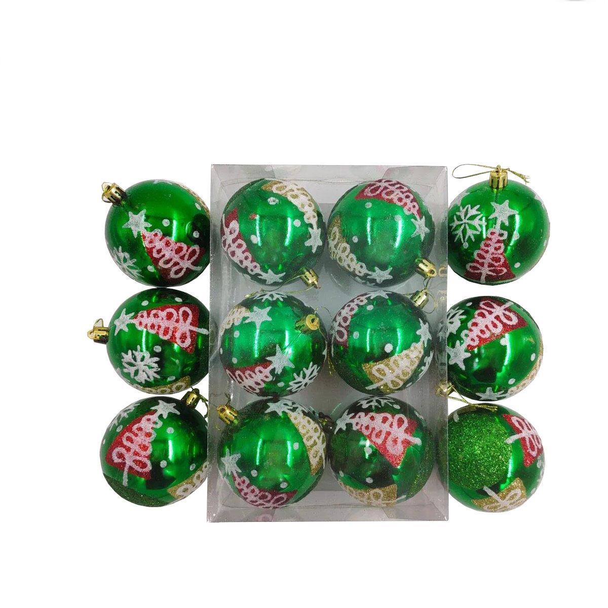 Елочные украшения Красно-зеленые диаметр шара 8 см, 6 шт