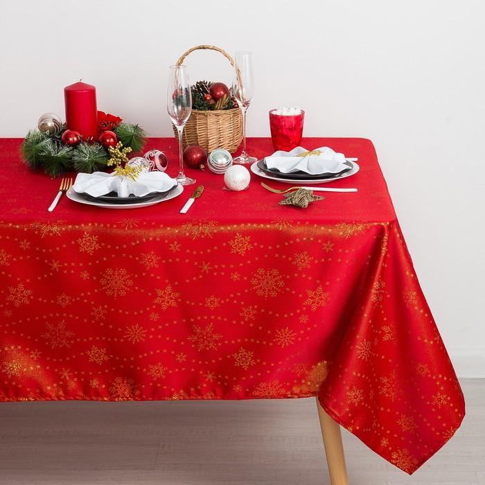 Скатерть Доляна Снежинки цвет красный 110×150см. 115 ± 10 г/м², 100% п/э