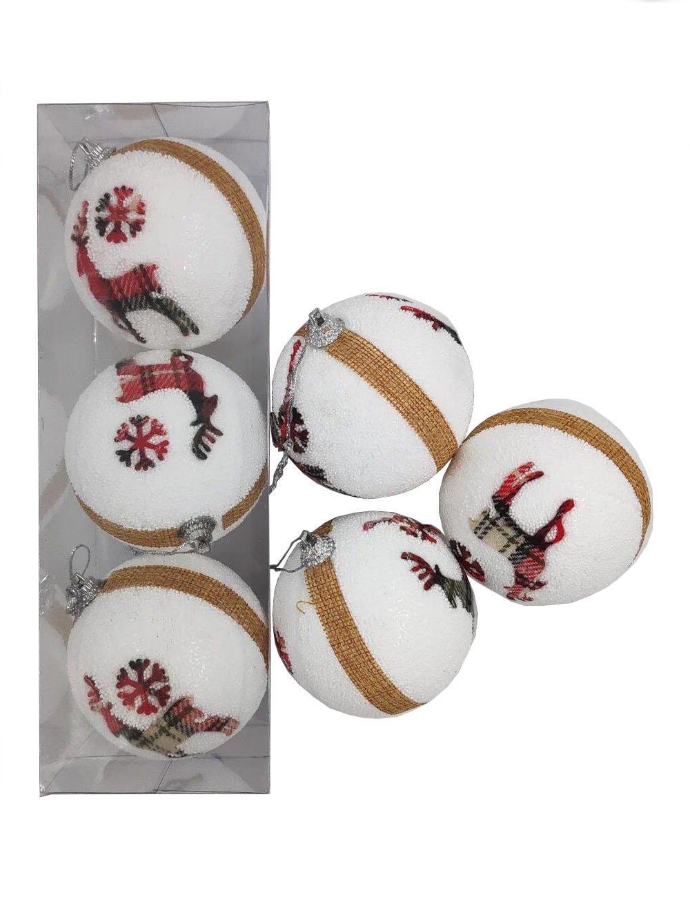Елочные украшения Олень диаметр шара 8 см, 3 шт