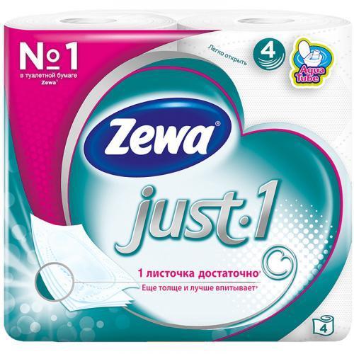 Туалетная бумага Zewa Just1 4 слоя 4 шт.