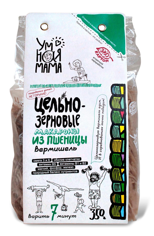 Макароны Умная мама цельнозерновые из пшеницы Вермишель