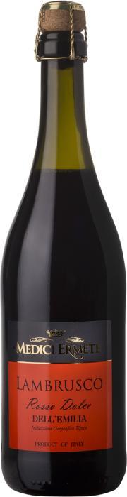 Игристое вино Ламбруско дель'Эмилия Россо Дольче /  Lambrusco dell'Emilia Rosso Dolce,  Ламбруско,  Красное Полусладкое, Италия