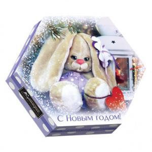 Конфеты Шоколадный Кутюрье Зайка шестигранник набор
