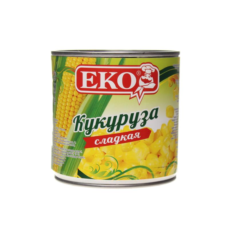 Кукуруза консервированная в зёрнах EKO Сладкая деликатесная, ж/б 340 гр. (12 шт. в упаковке)