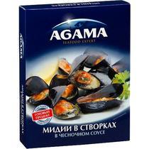 Мидии в створках, в чесночном соусе, Agama, 450 гр., Пластиковый пакет