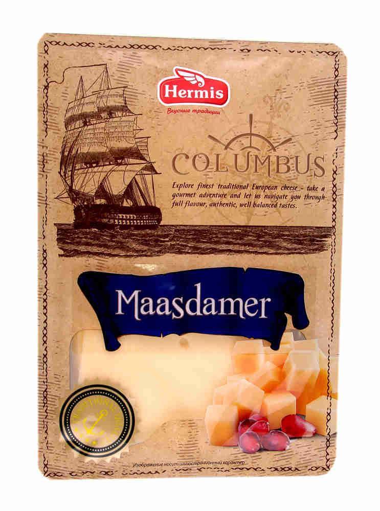 Сыр Columbus Маасдамер 50% нарезка, Россия