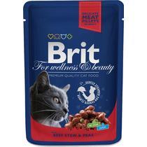 Корм влажный для кошек рагу из говядины с горошком Brit 100 гр. Дой-пак
