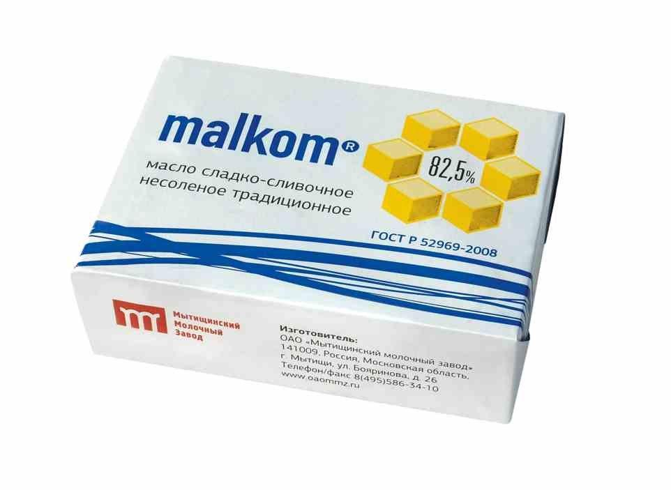 Масло Malkom сладко-сливочное несолёное Традиционное 82,5%