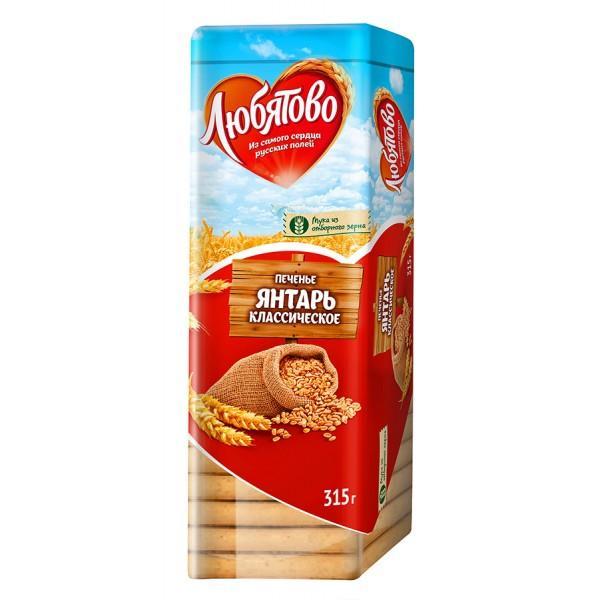 Печенье Янтарь классическое Любятово, 315 гр., Пластиковая упаковка