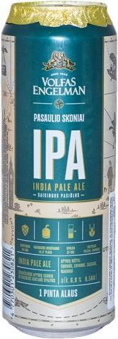 Пиво Volfas Engelman IPA светлое нефильтрованное 6%