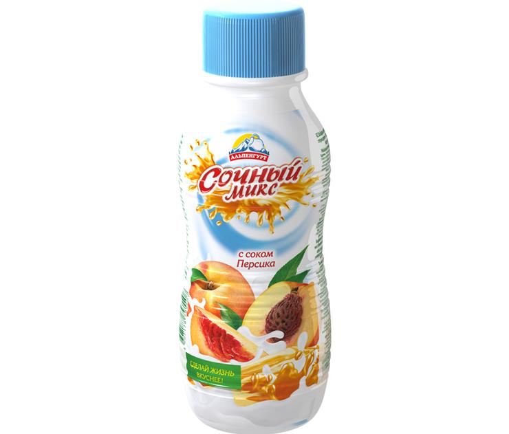 Напиток йогуртный Альпенгурт Сочный Микс С соком персика Стерилизованный 0,1%