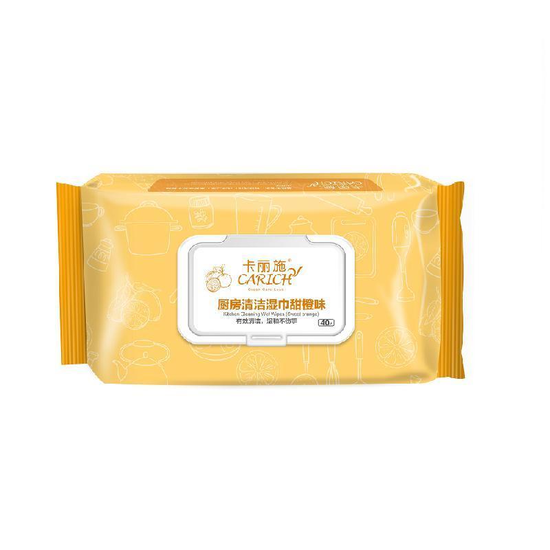 Влажные салфетки для кухни Carich С ароматом апельсина 40шт.