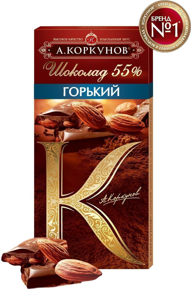 Шоколад А.Коркунов Горький с цельным миндалем 55%