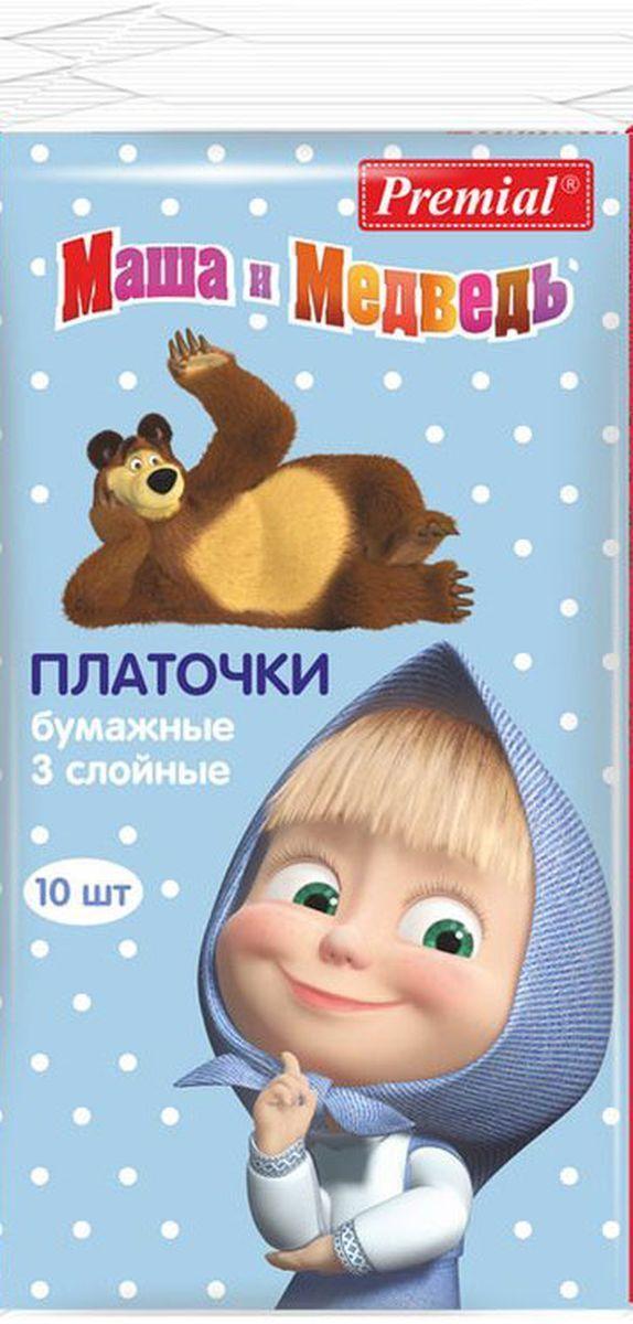 Платочки бумажные Premial Маша и Медведь 3-х слойные
