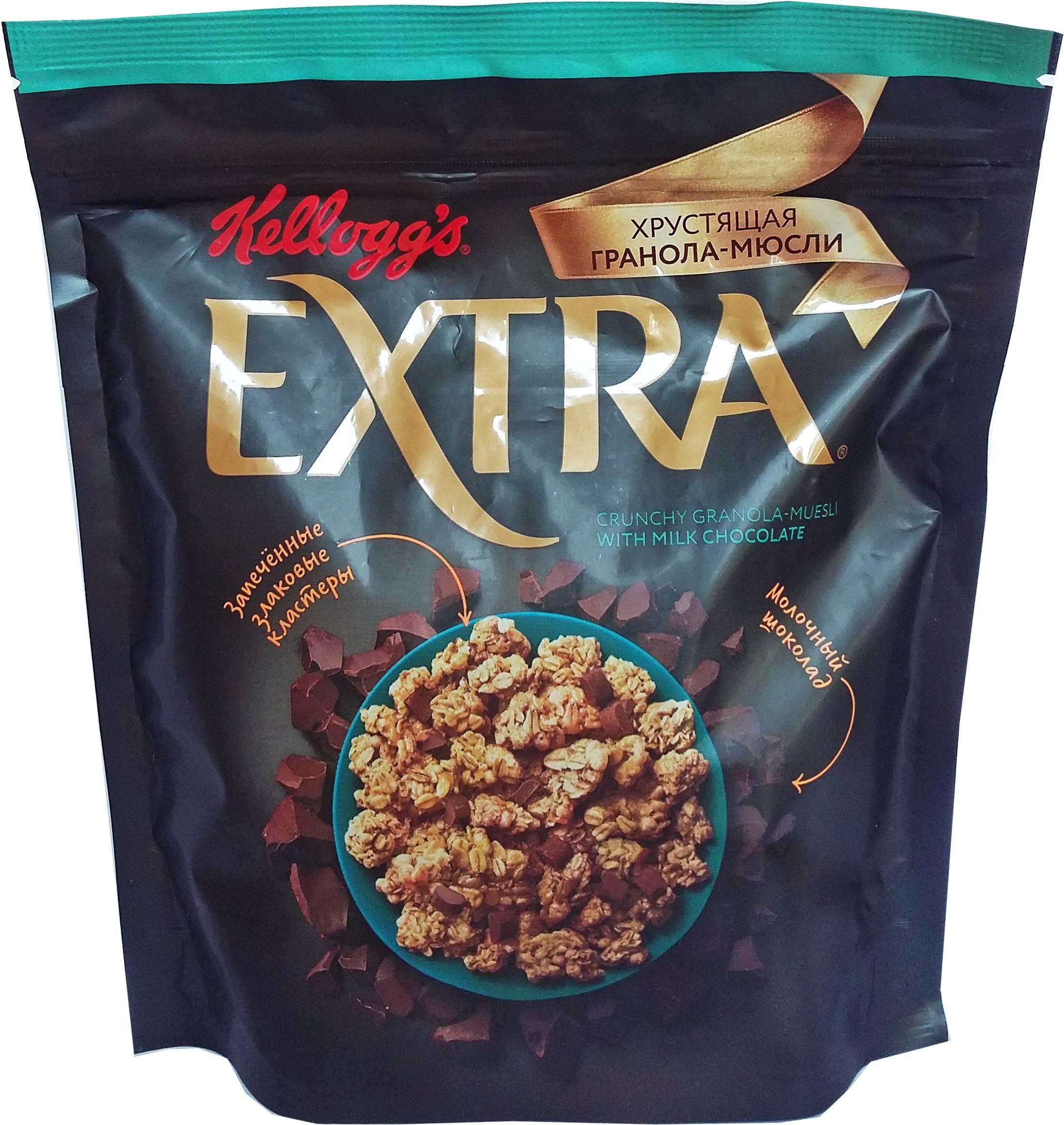 Гранола Kellogg's Extra хрустящая с молочным шоколадом