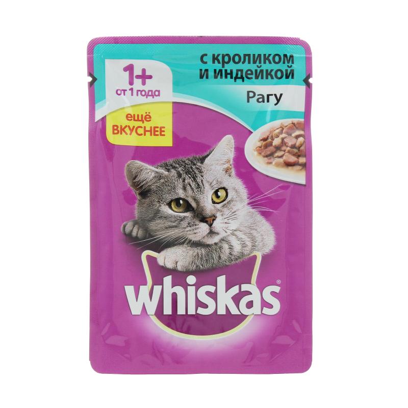 Корм влажный для взрослых кошек рагу с кроликом и индейкой Whiskas 85 гр. Дой-пак