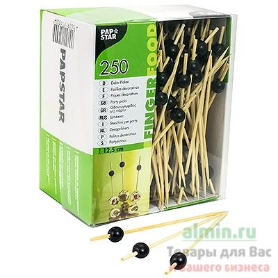 Пика Papstar Жемчужина черная, декоративная, для канапе, бамбук, h125 мм., 250 шт.
