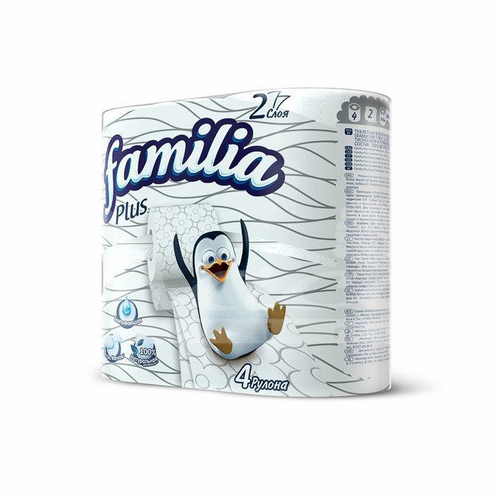 Туалетная бумага Familia Plus Белая 2 слоя 4шт