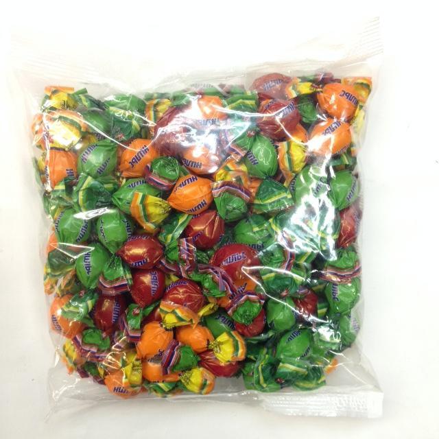 Конфеты Нильс Карамель жевательная с фруктово-ягодной начинкой с добавлением сока