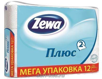 Туалетная бумага Zewa Плюс белая 2-х слойная 12 рулонов