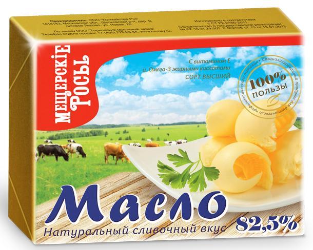Масло Мещерские Росы сливочное 82,5%