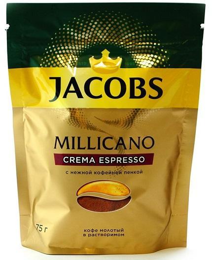 Кофе JACOBS Millicano Crema Espresso растворимый 75гр