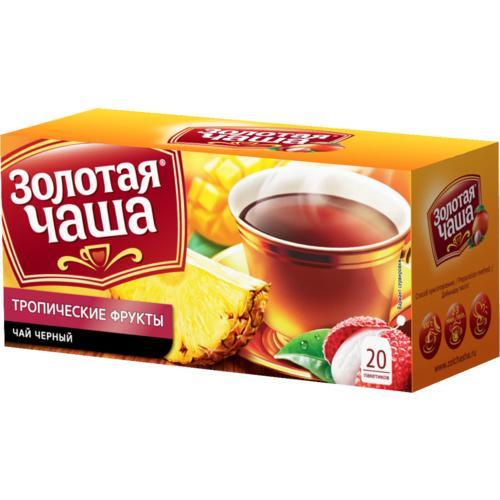 Чай Золотая Чаша Тропические фрукты черный в паектиках