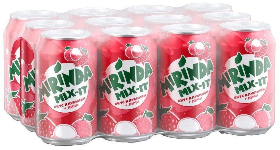 Газированный напиток Mirinda Mix-it клубника-личи 12шт.