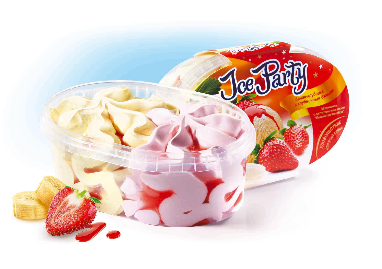Мороженое Лакомство колибри Ice Party Бананово-клубничное с клубничным джемом