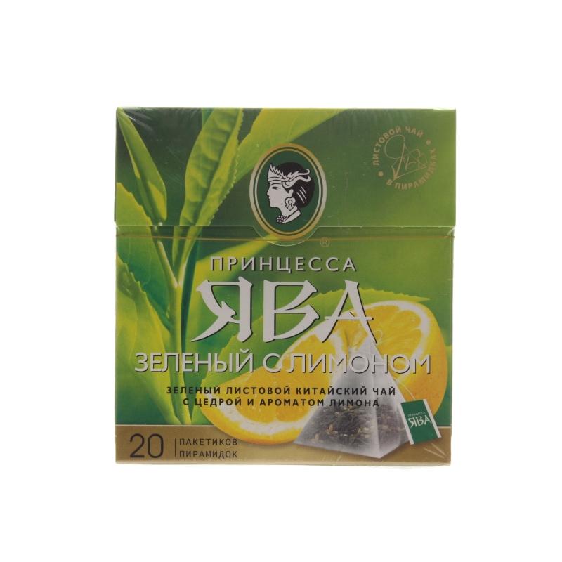 Чай зеленый Принцесса Ява С лимоном 20 пакетов