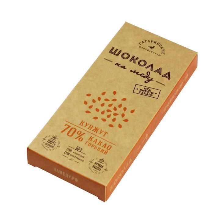 Шоколад Шоколад На Меду Горький 70% какао С Кунжутом