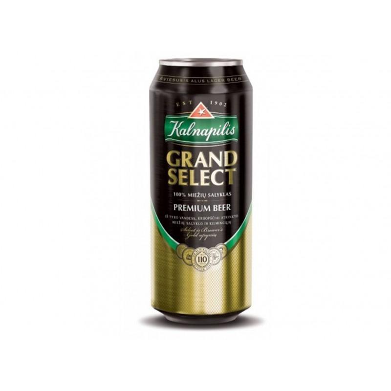 Пиво Kalnapilis Grand Select солодовое светлое пастеризованное фильтр 5,4%